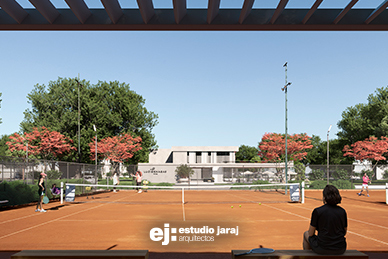 vista de la cancha de tenis